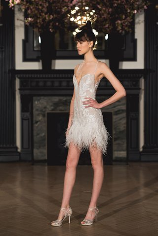 ines-di-santo-spring-2019-bridal-collection-wedding-dress-hailey-mini-dress-ostrich-feather-skirt