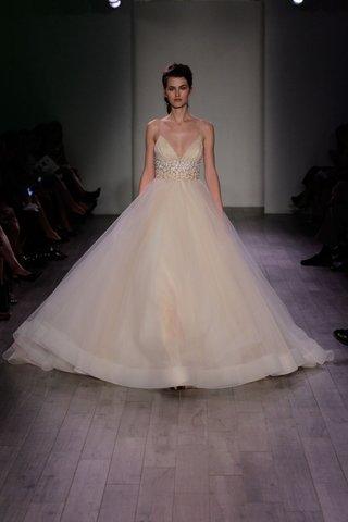 lazaro-spring-2016-champagne-spaghetti-strap-wedding-dress-with-jewel-waistband-and-a-line-skirt