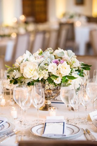 wedding-reception-centerpiece-low-footed-vessel-white-rose-white-peony-lavender-rose-greenery