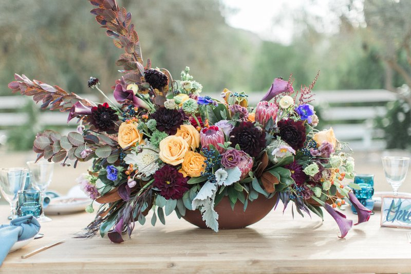 Rustic and Colorful Floral Centerpiece