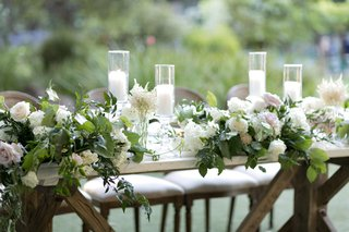 head-table-decor-with-roses-hydrangeas-greenery-pillar-candles