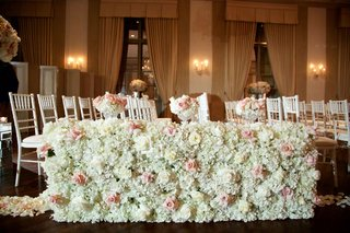 white-hydrangea-pink-rose-ivory-rose-flower-wall-along-wood-floor-aisle-ballroom-wedding-ceremony