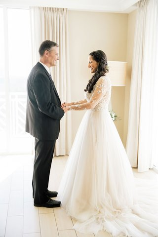 wedding-dresses-sheer-long-sleeve-beaded-bodice-tulle-skirt-a-line-gown-long-hair-braid-father