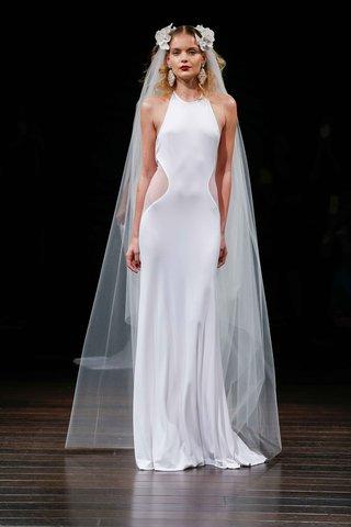 naeem-khan-bridal-fall-2017-san-diego-wedding-dress-high-neck-sleeveless-side-cut-outs-at-waist