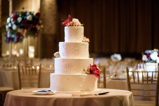 classic-round-tier-wedding-cake-with-piping-fresh-flowers-on-each-layer-and-monogram-on-second-layer