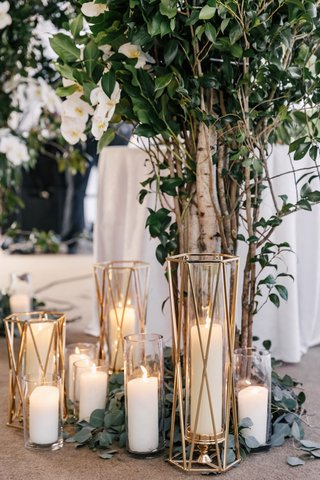 wedding-ceremony-arch-greenery-white-flowers-tree-trunk-branches-white-pillar-candles-gold-candle