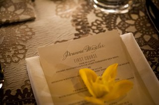 personalized-wedding-menu-card-with-yellow-flower-on-top-reception-ideas