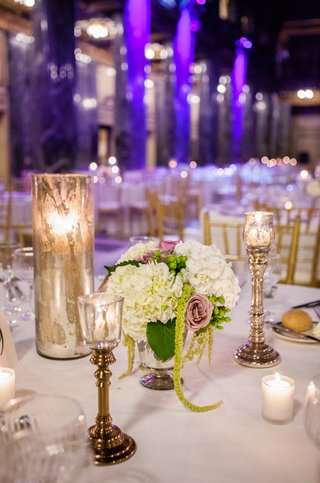mercury-glass-candle-holders-and-floral-centerpiece