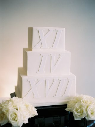 square-three-tier-wedding-cake-with-wedding-date-in-roman-numerals
