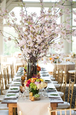 cherry-blossom-bouquet-rustic-wedding-reception-fruit-and-flower-low-centerpieces