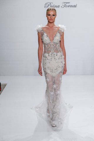 pnina-tornai-for-kleinfeld-2017-dimensions-collection-sheer-beaded-wedding-dress-flowers-on-sleeves