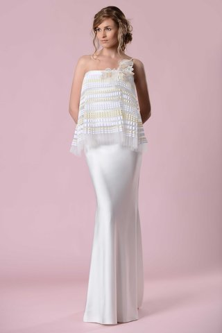 gemy-maalouf-2016-strapless-wedding-dress-with-gold-and-white-accordion-pleat-overlay-and-flower