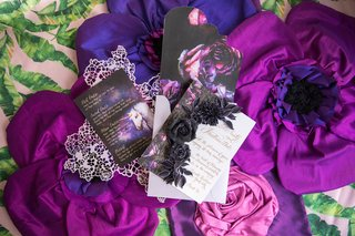 wedding-styled-shoot-dark-beauty-purple-flowers-invitation-menu-card-gold-calligraphy-unicorn