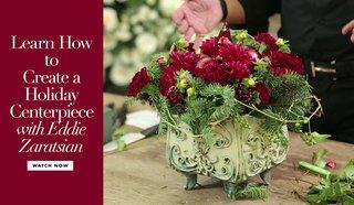 eddie-zaratsian-wedding-tutorial-video-holiday-centerpiece-red-carnations-dahlias-evergreen
