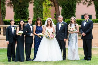 bride-in-zuhair-murad-wedding-dress-ball-gown-kleinfeld-bridal-with-family-on-wedding-day