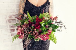 red-orchid-and-flower-wedding-bouquet-with-greenery-and-ferns