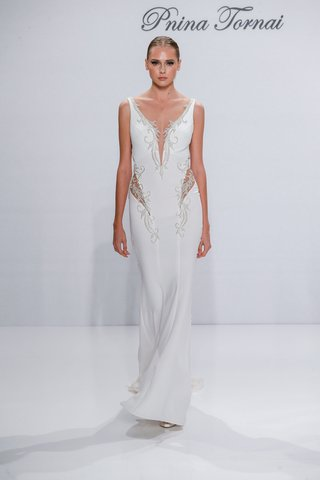 pnina-tornai-for-kleinfeld-2017-dimensions-collection-crepe-wedding-dress-with-side-cut-outs