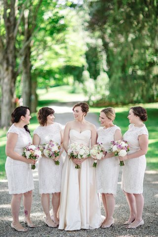 bride-in-romona-keveza-legends-l267-bridesmaids-in-watters-encore-hawthorn-white-lace-dresses