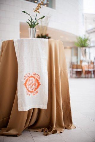 cocktail-table-with-wedding-monogram-linen-runner