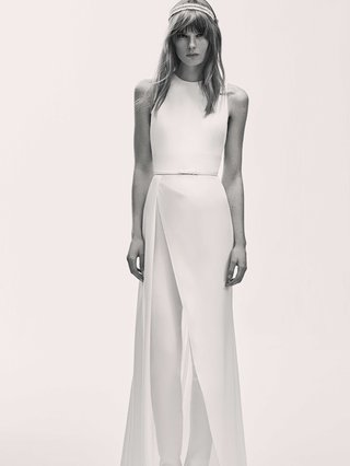 black-and-white-photo-of-elie-saab-bridal-spring-2017-sleeveless-jumpsuit-wedding-outfit-overskirt