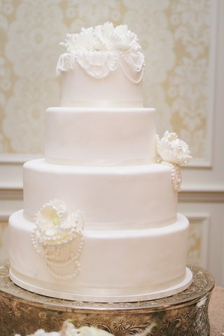 white-wedding-cake-with-sugar-flowers-and-pearls