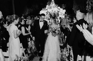 black-and-white-photo-of-bride-and-groom-after-outdoor-wedding-ceremony-beverly-hills-jewish-wedding