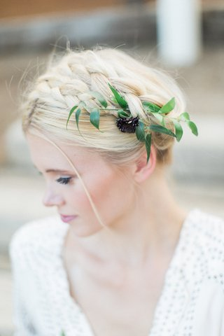 bridal-braid-flower-foliage-beauty-southern-california-styled-wedding-shoot-rustic-simple-hairstyle