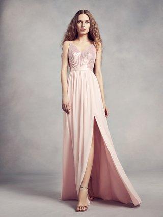 white-by-vera-wang-fall-2017-bridesmaid-dress-v-neck-bodice-straps-ribbon-belt-slit-blush