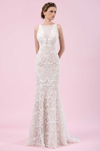 gemy-maalouf-2016-sleeveless-wedding-dress-with-lace-pattern-and-sheer-neckline