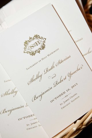 chicago-wedding-ceremony-program-with-gold-monogram-and-gold-calligraphy-catholic-traditions