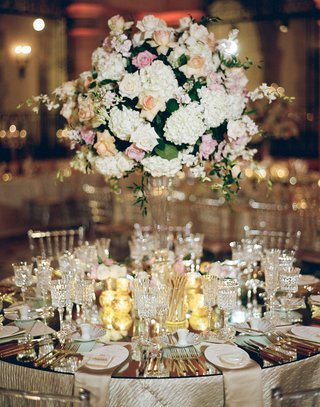 wedding-reception-table-mirror-top-crystal-tall-glass-centerpiece-rose-hydrangea-orchid-flowers