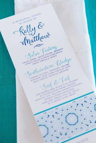 detriot-lions-quarterback-matthew-stafford-rehearsal-dinner-decor-kelly-hall-tex-mex-blue-menu