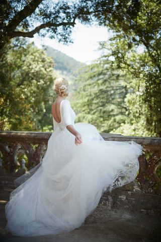 low-back-sleeved-gown-with-tulle-skirt