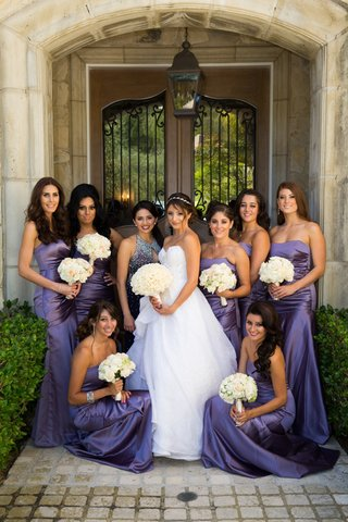 strapless-purple-bridesmaid-dresses-with-ruched-bodices
