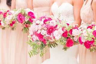 bridal-bouquet-and-bridesmaid-bouquets-pink-rose-light-pink-hot-pink-greenery-accents