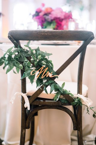 rose-gold-laser-cut-mrs-on-greenery-for-bride-chair-decoration
