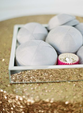 gold-sequin-table-linen-with-mirror-tray-grey-yarmulke-for-jewish-wedding-in-palm-beach-florida