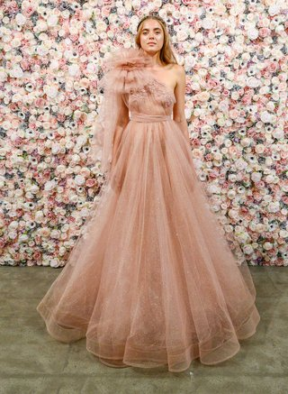 michael-costello-spring-summer-2018-bridal-couture-collection-rust-ball-gown-with-tulle-shoulder