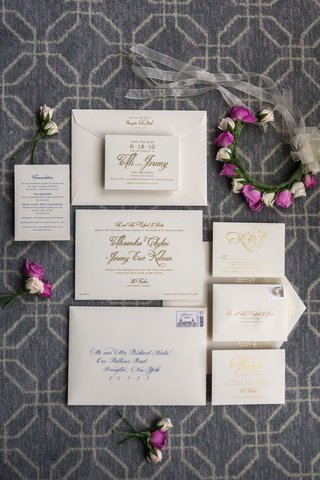 ivory-wedding-invite-with-cobalt-blue-and-gold-calligraphy-on-invitation-and-envelope