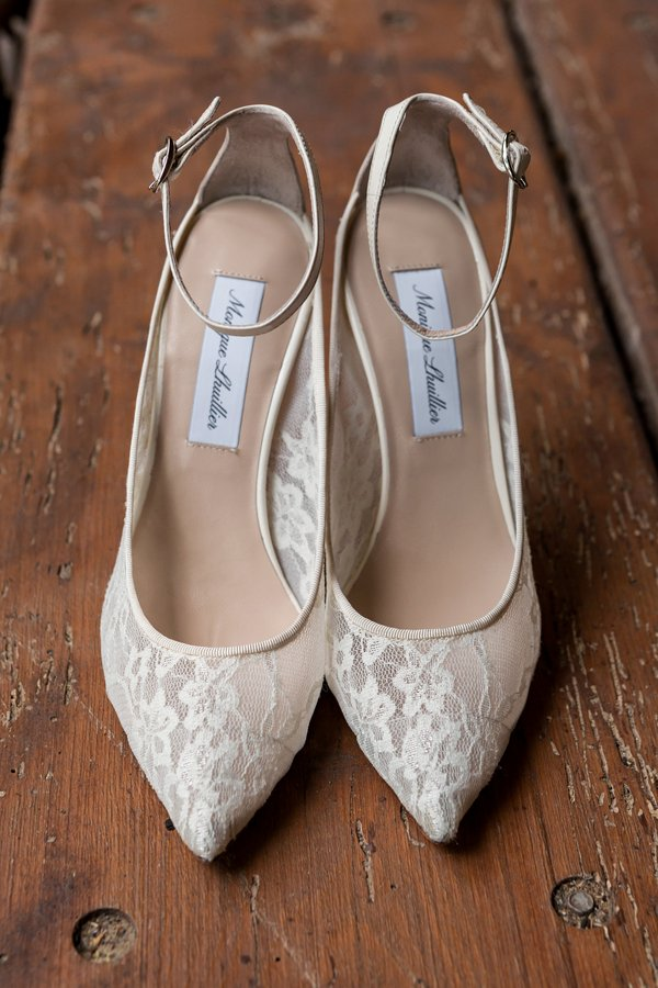 Lace Bridal Shoes with Ankle Strap