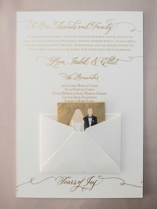 white-and-gold-wedding-ceremony-program-with-thank-you-note-to-guests-we-remember-list-and-tissue