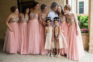 pink-bridesmaids-dresses-champagne-gold-flower-girl-dresses