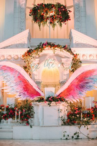 be-the-good-sign-altar-wings-bold-pink-purple-blue-red-wedding-ceremony-altar