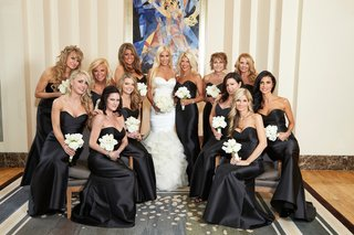 bride-in-rivini-bridesmaids-in-alvina-valenta-black-strapless-floor-length-bridesmaid-dresses
