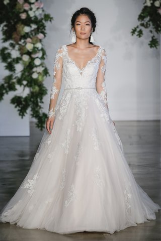 morilee-fall-2018-alencon-lace-appliques-on-soft-tulle-ball-gown-with-gored-insets