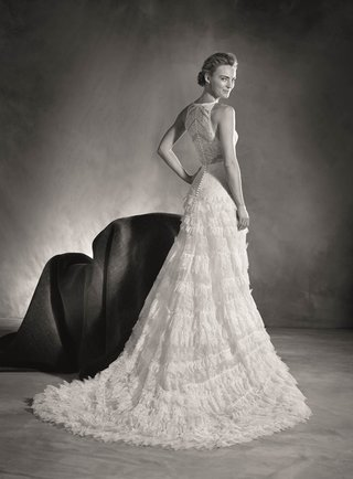 atelier-pronovias-2017-high-neck-and-high-back-wedding-dress-with-ruffle-a-line-skirt-black-white