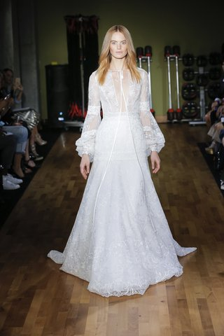 rivini-fall-2018-delicate-lace-gown-with-modern-bishop-sleeves-and-ribbon-tie-plunging-v-neck