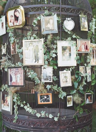 framed-family-photos-on-large-oversized-bird-cage