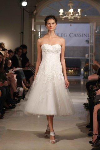 oleg-cassini-spring-2016-strapless-tea-length-wedding-dress
