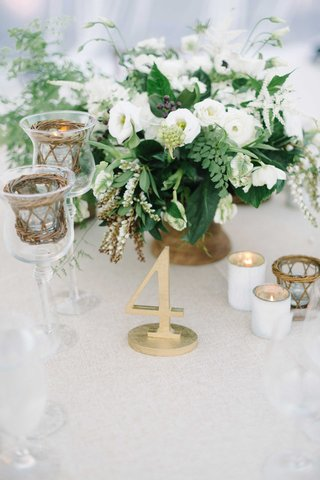 table-number-foliage-gold-details-votives-baskets-white-beach-wedding-oceanside-california-reception